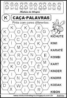 Caça-palavras letra K