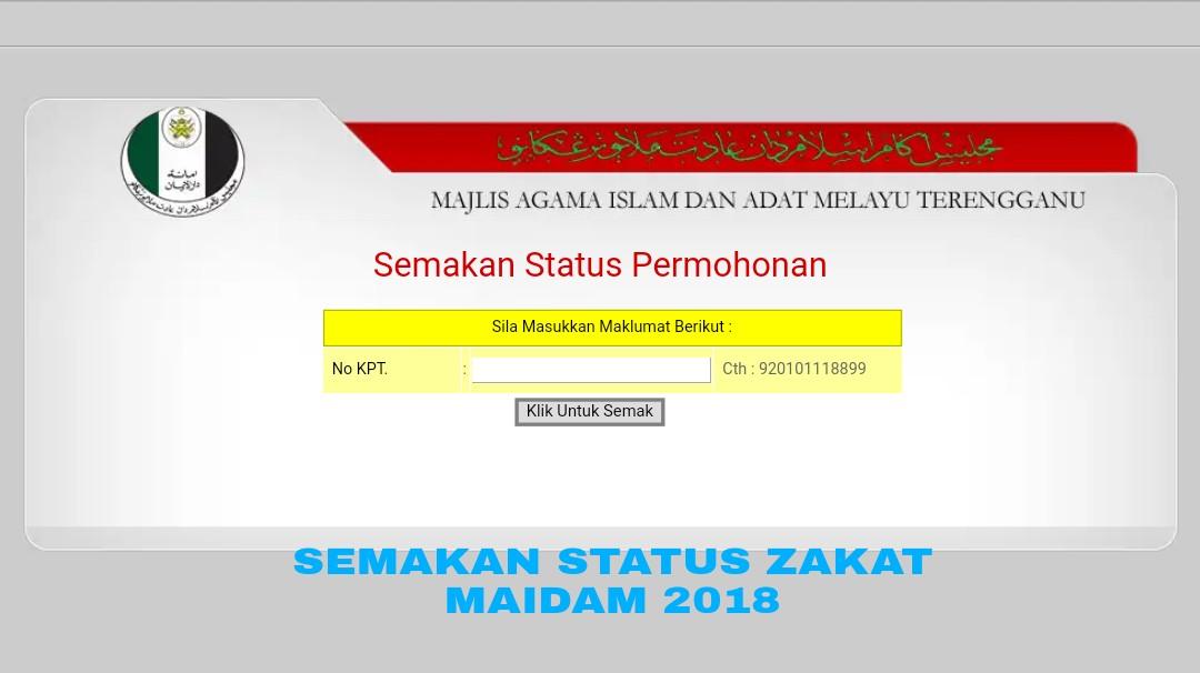 Semakan Status Permohonan Zakat Maidam 2020 My Panduan