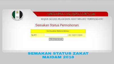 Semakan Status Permohonan Zakat MAIDAM 2018