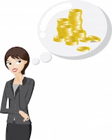 """Businesswoman Is Thinking About Bonus Money"" by iosphere"