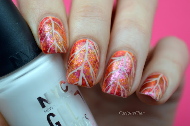 autumn leaf nail art sparkle tutorial red
