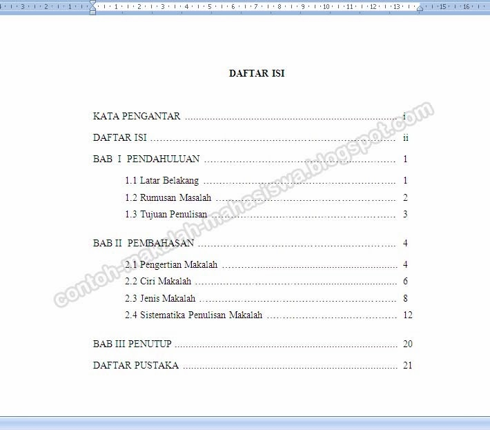 Contoh Daftar Isi Makalah Mahasiswa Materi Pelajaran 2