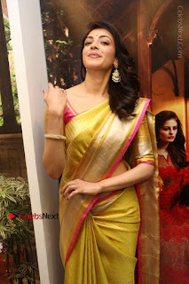 Actress Kajal Agarwal Stills in Golden Silk Saree at Trisha Sesigner Store Launch  0054.jpg