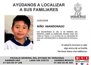 Piden ayuda para localizar a familares de menor abandonado en Cotaxtla