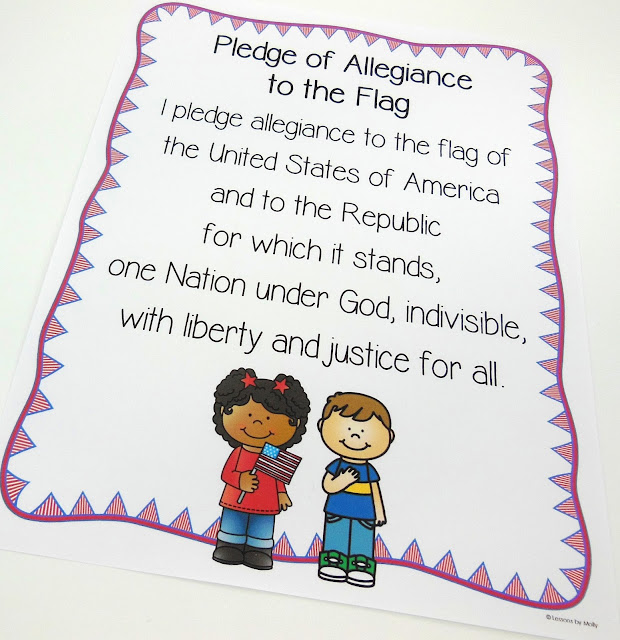 If you teach kindergarten in Virginia you know that one of the social science standards is to recognize the Pledge of Allegiance.  This FREE resource includes the Pledge of Allegiance on pocket chart cards allowing students that can read the opportunity to track words from the pledge.  There are also Pledge of Allegiance printable sheets for students to use as they recite the pledge.  The Pledge of Allegiance standard can be found in the civics strand of the 2015 standards of learning.