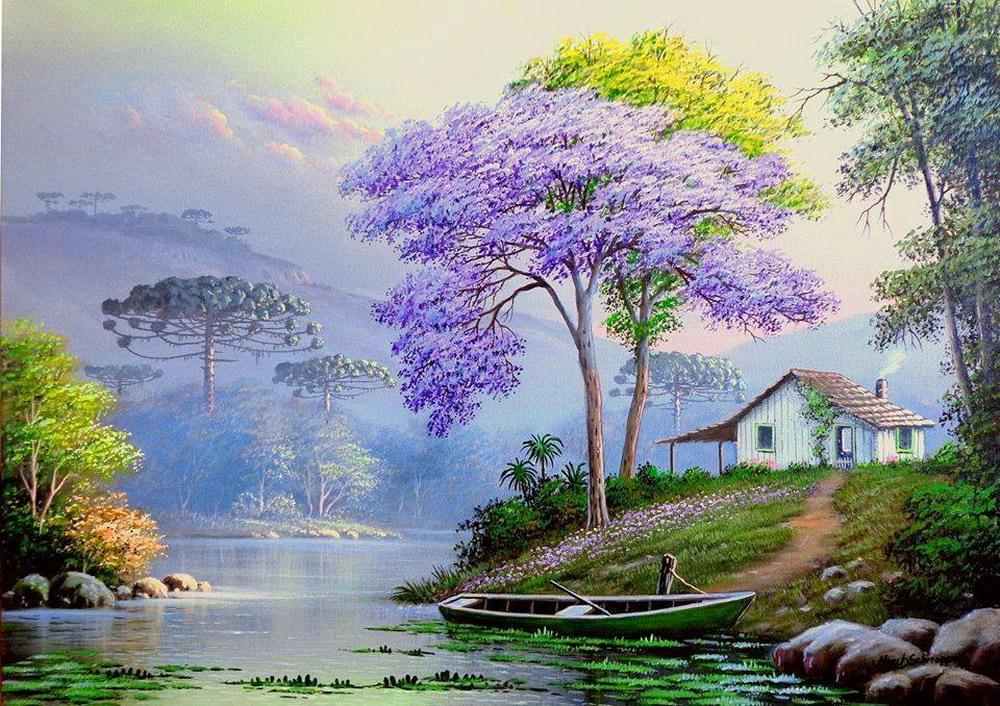 Im genes arte pinturas frescos paisajes selv ticos y del - Cuadros de casas de campo ...