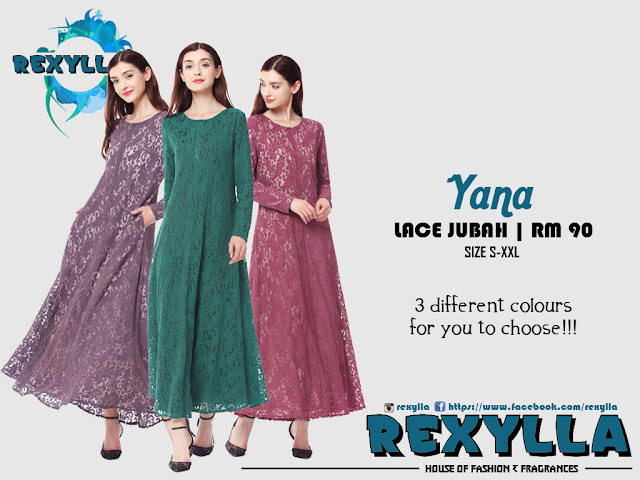 rexylla, lace jubah, yana collection