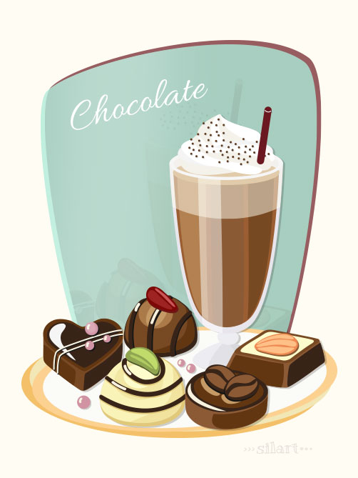 Chocolate, Schokolade, Pralinen, vector grafik
