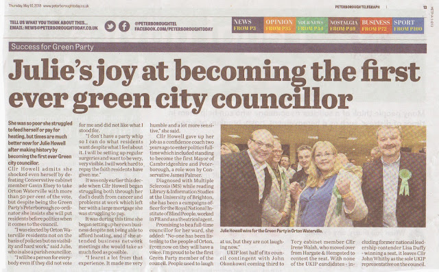 Julie's joy at becoming the first ever Green city councillor in Peterborough