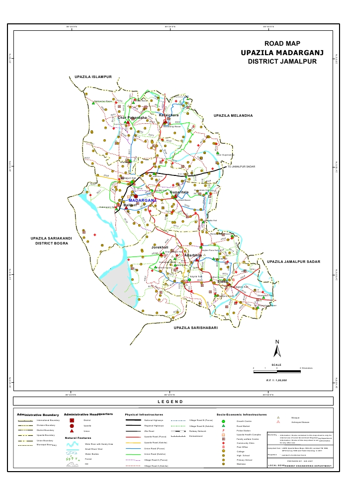 Madarganj Upazila Road Map Jamalpur District Bangladesh