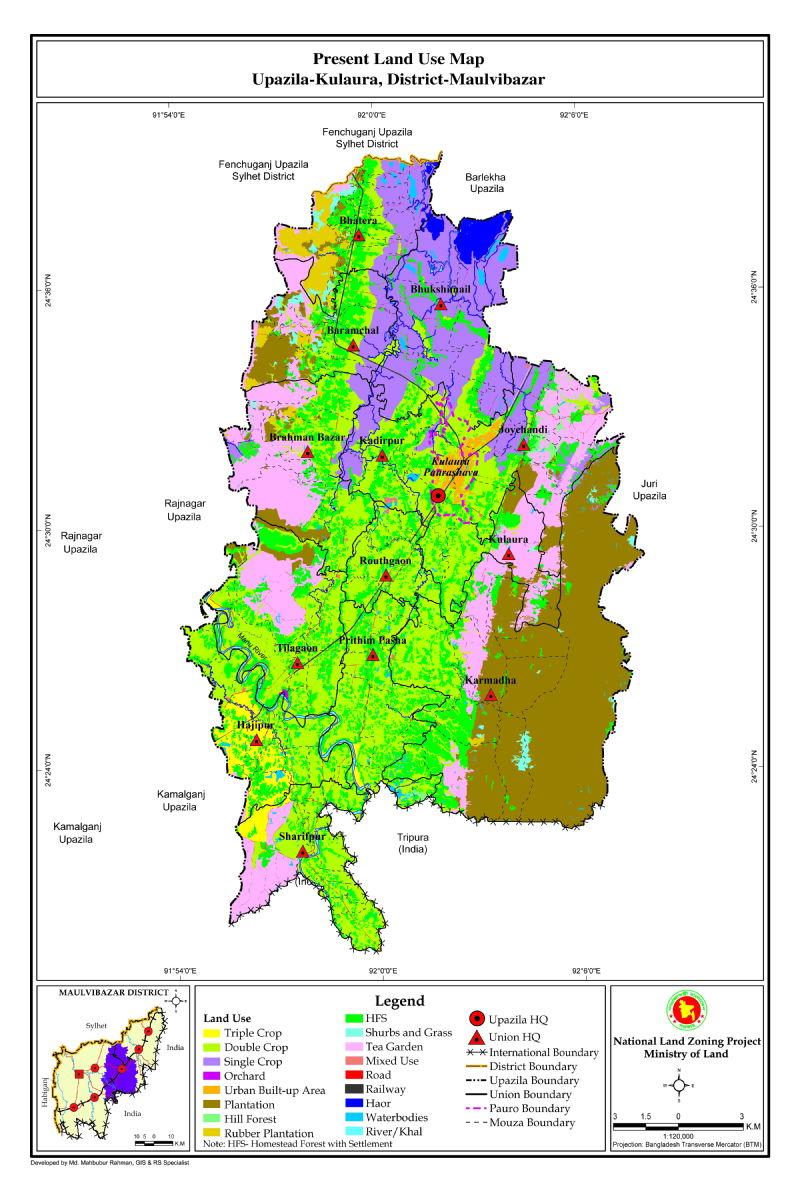 Kulaura Upazila Mouza Map Moulvibazar District Bangladesh