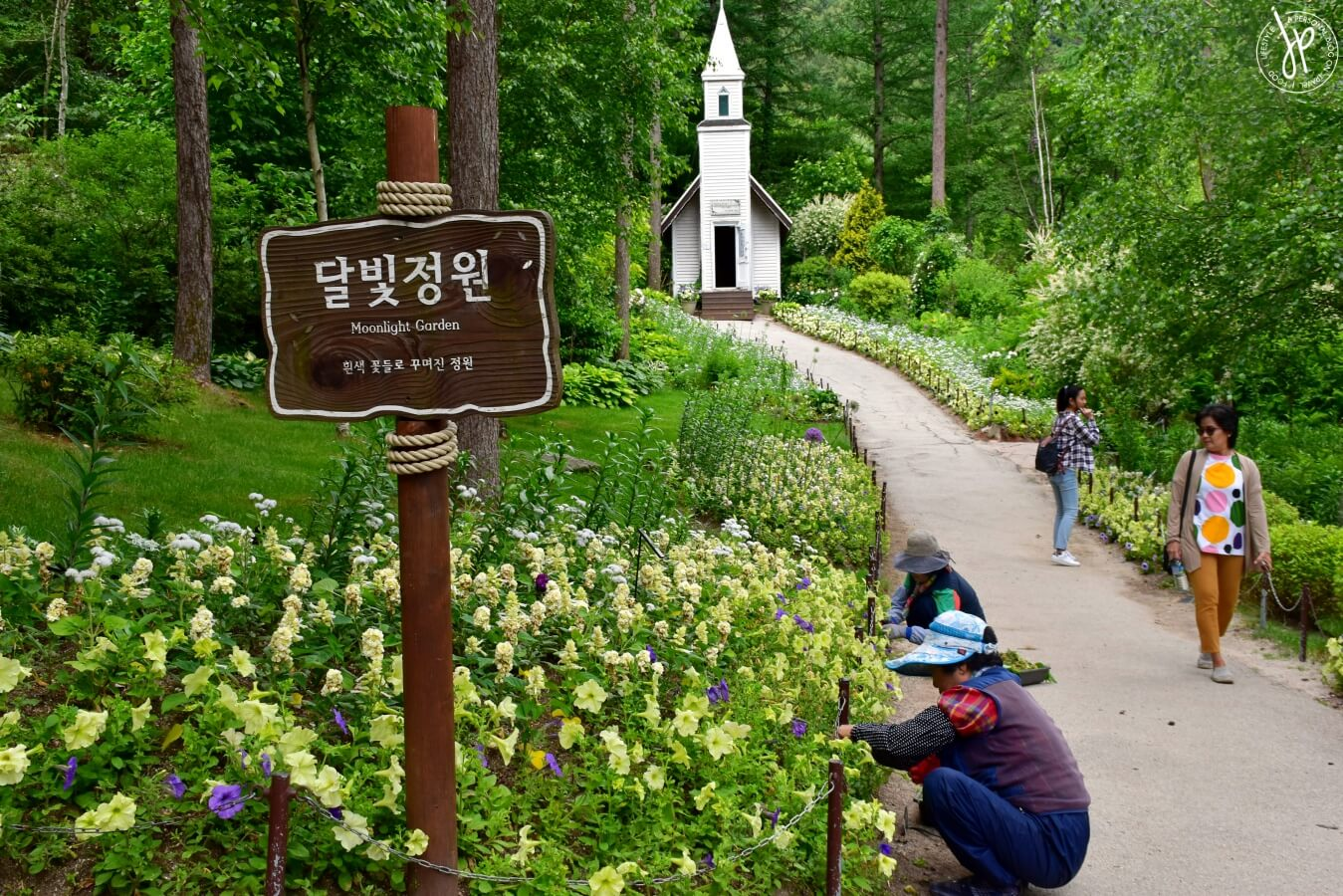flowerbed path and chapel