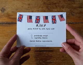 Bespoke Royal Wedding Stationery RSVP bunting by Alice Draws The Line