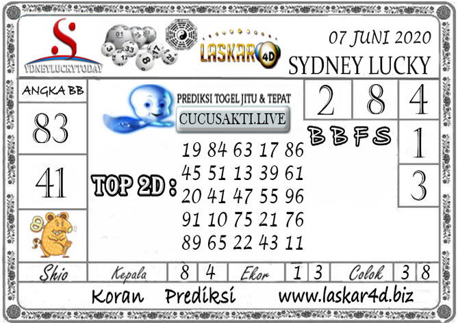 Prediksi Sydney Lucky Today LASKAR4D 07 JUNI 2020