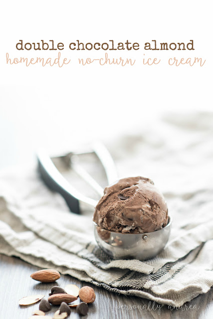 Homemade Double Chocolate Almond No Churn Ice Cream | personallyandrea.com