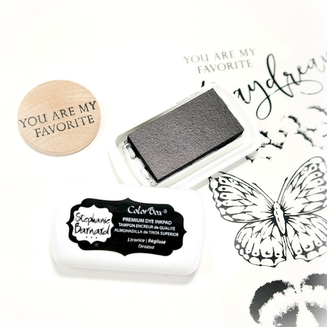 Circlular Wood Tag with Black Stamped You Are My Favorite Sentiment