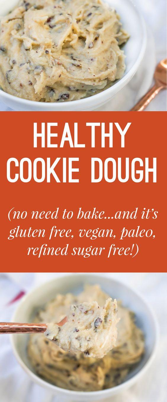 Healthy Chocolate Chip Cookie Dough (Gluten Free, Vegan, Paleo, Refined Sugar Free)