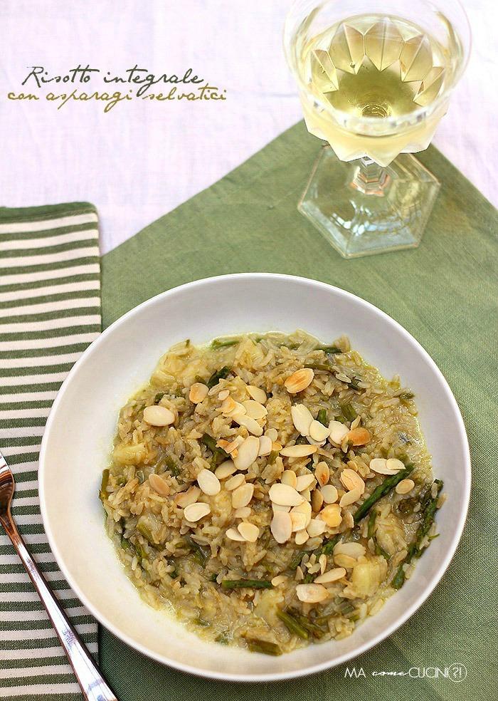 risotto integrale con asparagi selvatici