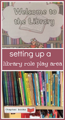 Library role play area with Twinkl