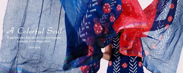 d35af80633 Trendy Punjabi Suits Online: COLORFUL BANDHANI COTTON SALWAR KAMEEZ ...