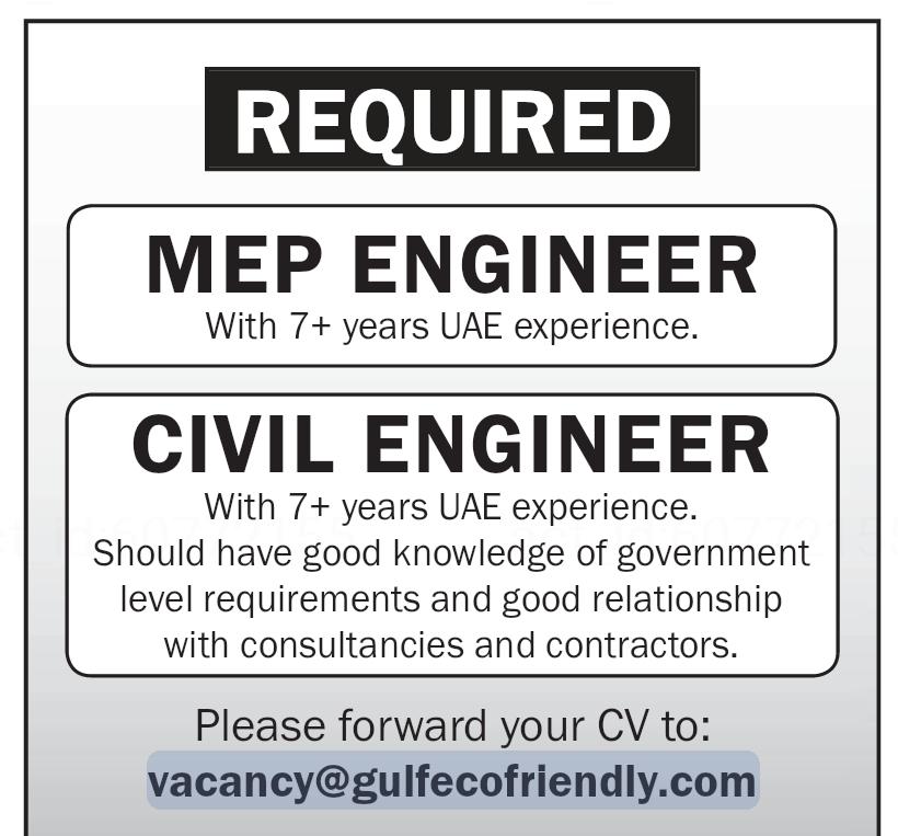 Required MEP Engineer & Civil Engineer for UAE Local Hiring