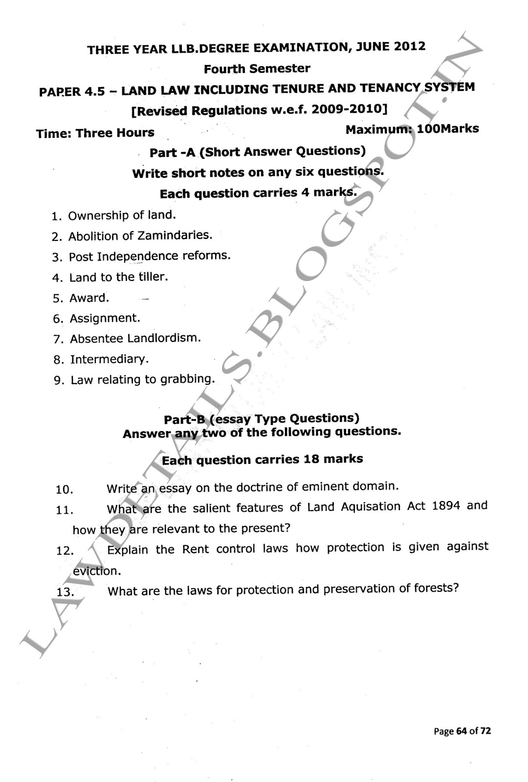 land law essay pay to do criminal law thesis law essay speech on  lawdetails pot in land law including tenure and tenancy 2012 page 1