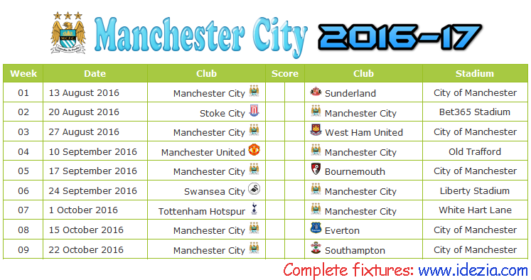 Download Jadwal Manchester City 2016-2017 File JPG - Download Kalender Lengkap Pertandingan Manchester City 2016-2017 File JPG - Download Manchester City Schedule Full Fixture File JPG - Schedule with Score Coloumn