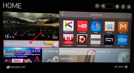 Menu 'Home' pada Smart TV