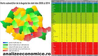 Harta celor mai subvenționate județe de la bugetul de stat