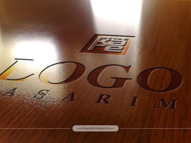 3D logo tasarımı parlak ahşap
