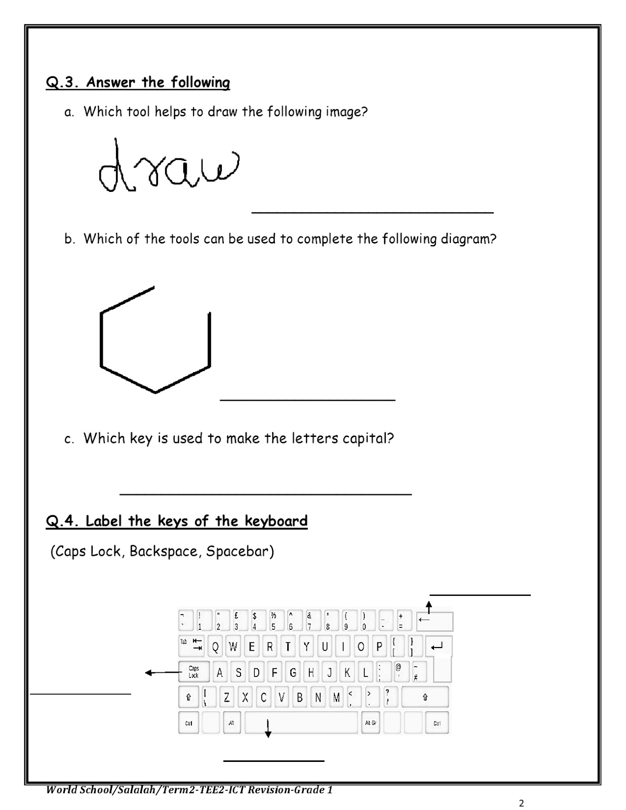 Birla World School Oman Ict Revision Worksheet For Grade 1