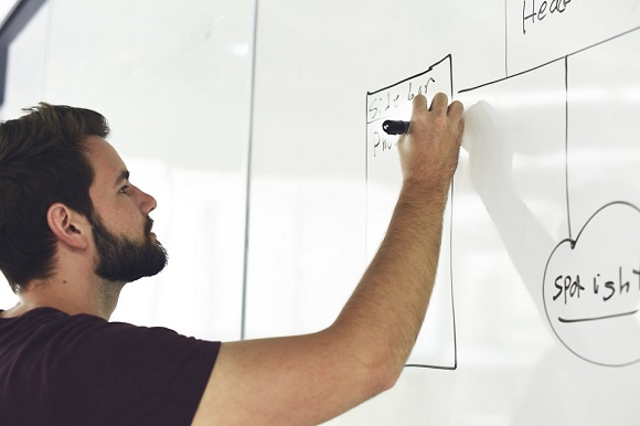 A man drawing on the white board
