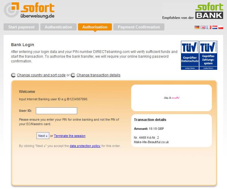 Sofortüberweisung Payment Process Screen
