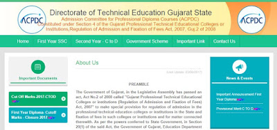 Gujarat Diploma Admission 2018 Online Registration form, Merit List, Schedule www.gujdiploma.nic.in