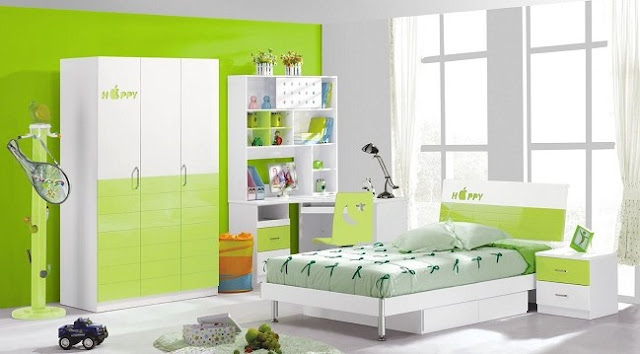 interior kamar tidur minimalis hijau 2016