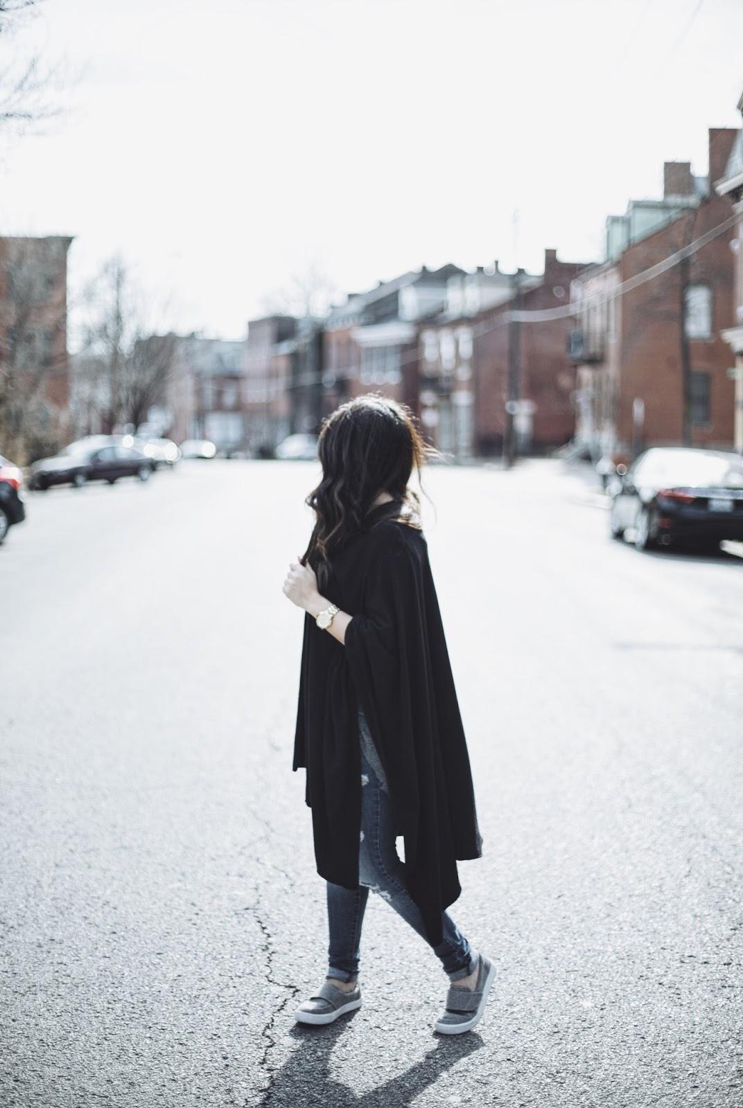 Black blanket scarf poncho