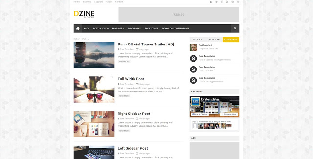 Dzine Blogger template responsive clean layout