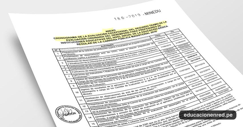 MINEDU publicó nuevo Cronograma de la Evaluación Excepcional del II Tramo de la Evaluación Ordinaria del Desempeño para Profesores (R. VM. N° 186-2019-MINEDU) www.minedu.gob.pe