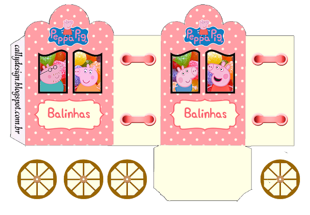 Caja con forma de Carruaje para Imprimir Gratis de Peppa Pig y Familia.