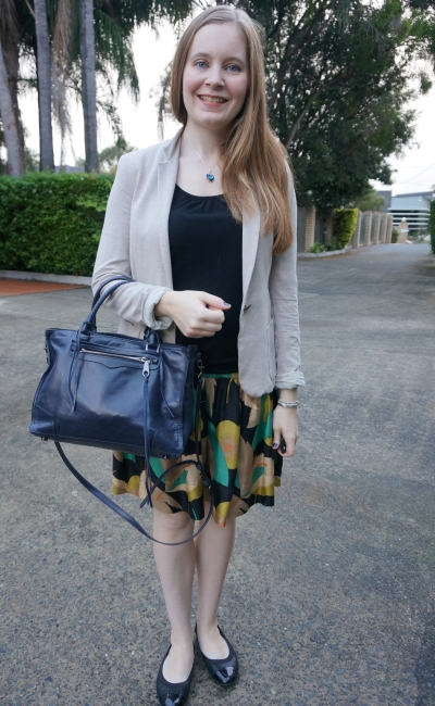 """cream blazer, black tank and skil skirt with Rebecca Minkoff regan bag"""" business casual autumn office outfit 