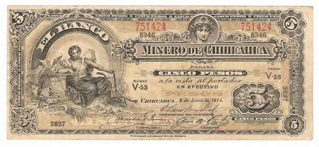 Mexican paper money 5 Pesos banknote Banco Minero de Chihuahua