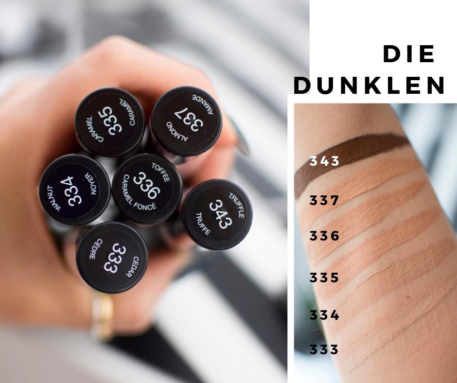 Die dunklen Nuancen des L'Oréal Infaillible More Than Concealer, Swatch und Review