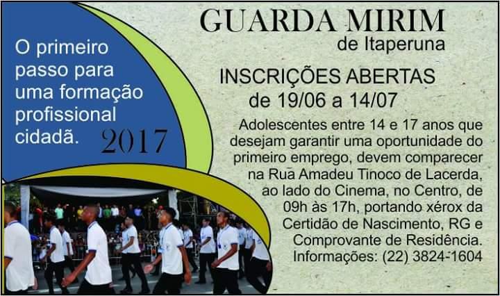 73d2a9c0b8 INSCRIÇÕES ABERTAS PARA GUARDA MIRIM EM ITAPERUNA