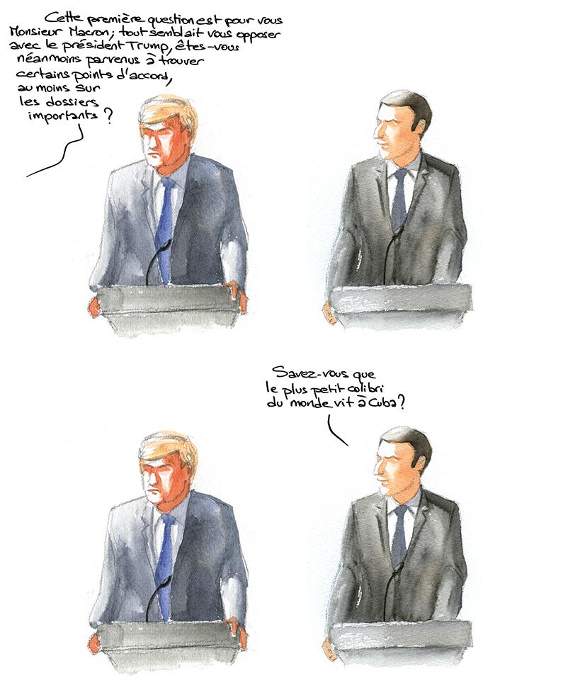 conférence de presse Macron Trump