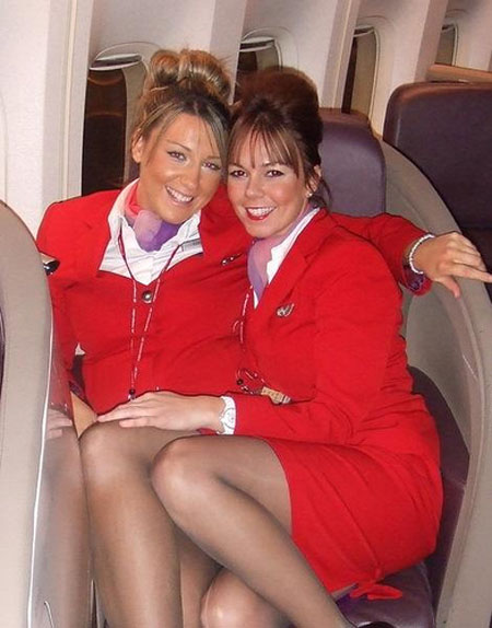 image Candid air stewardess nylon legs feet and shoeplay