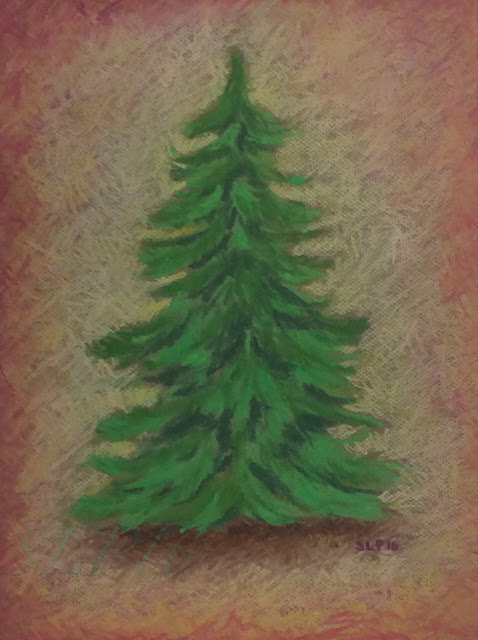 kuusi joulu pastelli maalaus
