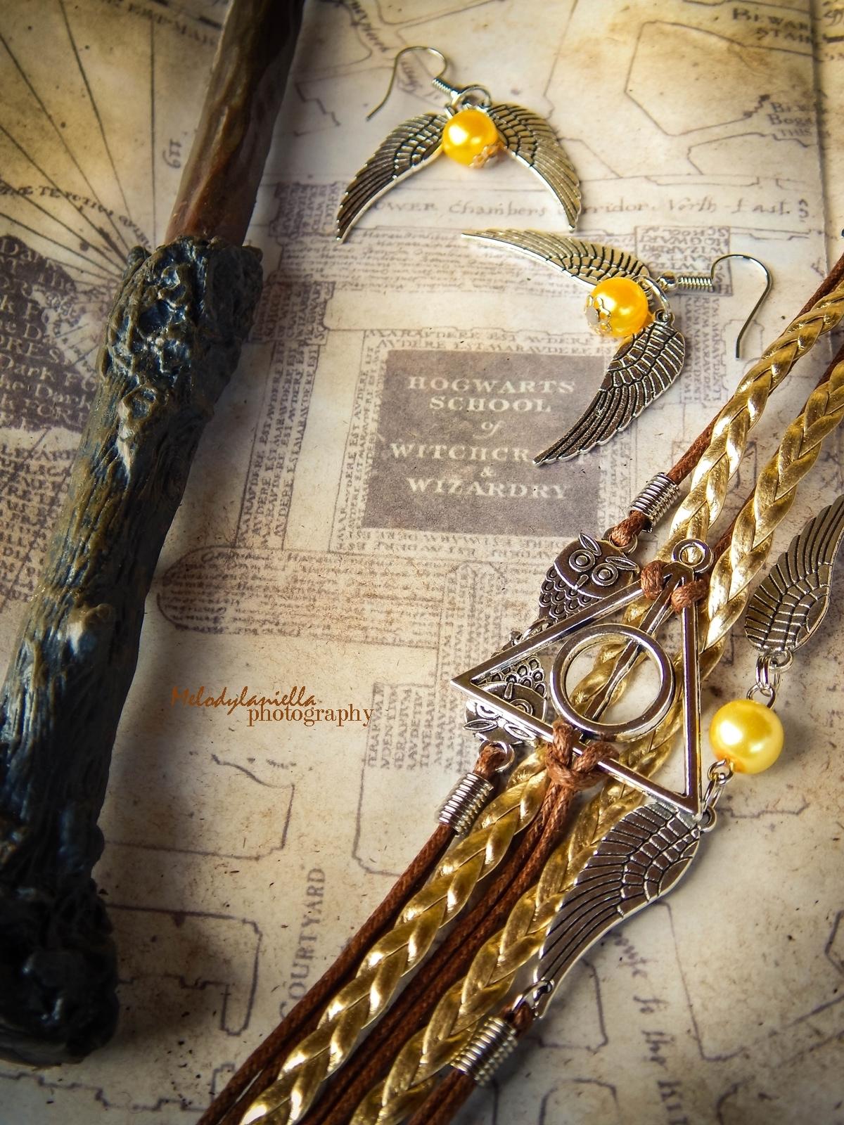 harry potter różdżka zmieniacz czasu mapa huncwotów ksiązki mugole prezenty bizuteria złoty znicz pióro sowa mapa dla fanów prezent złoto różdżka insygnia śmierci złote znicze bransoletka kolczyki