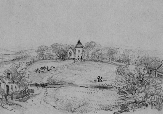 Clothall. Near Baldock, Hertfordshire c1856 Pencil drawing attributed to Mrs Frances Ruth Faithfull but possibly by Rev James Faithfull Peter Miller Collection