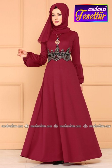 cd5c8213f9522 Beli Güpürlü Elbise 5025MN367 Bordo - Moda Selvim - Mira Tesettür Elbise  2019