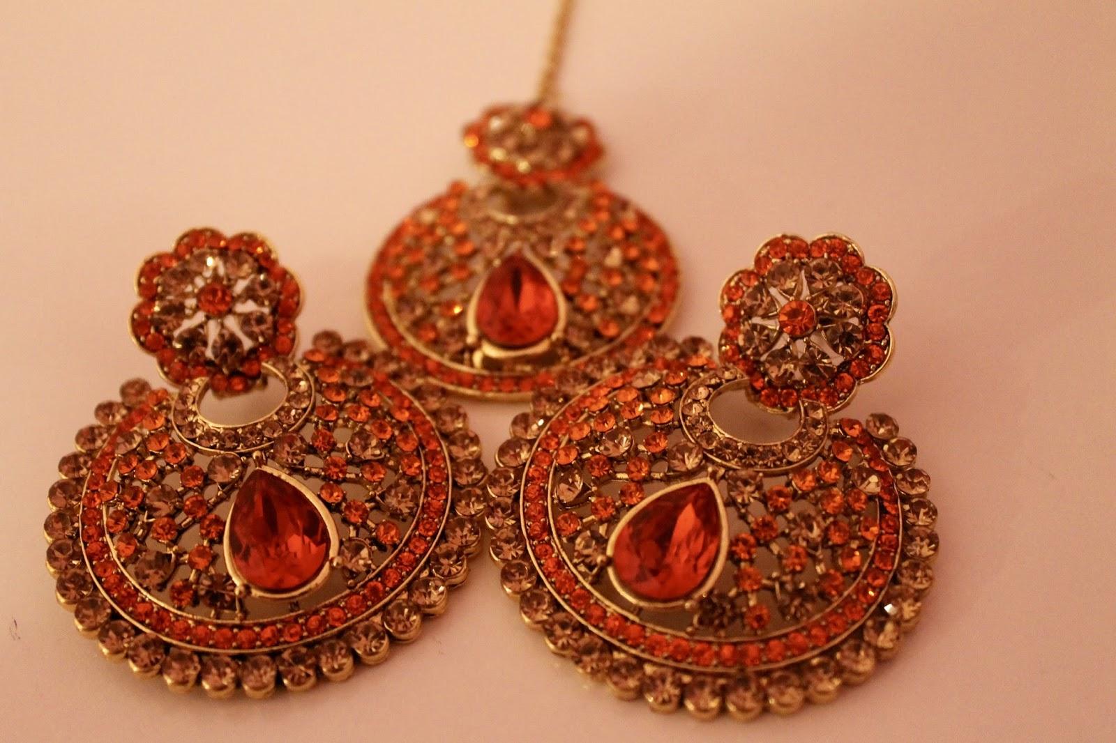 Orange & Gold Earrings Set